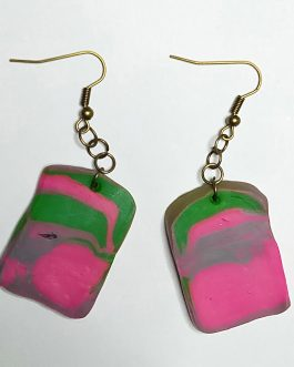 Multicolor rectangular earrings
