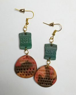 Multicolor large textured earrings