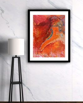 Red and Orange Marbling Painting
